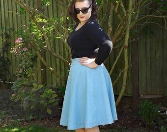50s Style Skirt, Cotton Circle Skirt, Full Skirt, Cotton Skirt, Circle Skirt, 50s Skirt, Cotton, Knee Length Skirt, Blue Full Circle Skirt