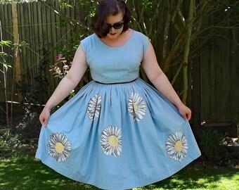 Vintage Style Dress, Hand Painted Dress, 50s Style Dress, Floral Cotton Dress, Floral Dress, Cotton Dress, 50s Full Dress, Pocket Dress.