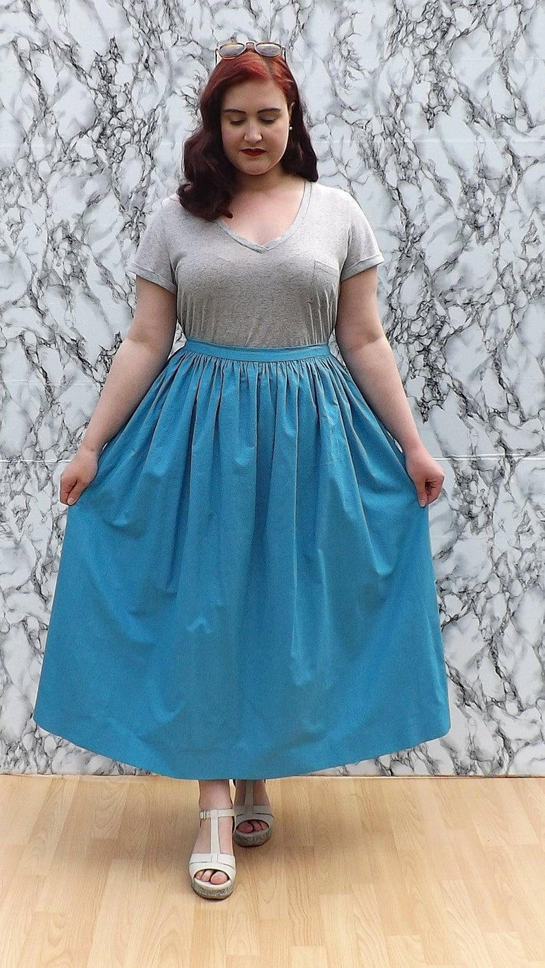 3541aeb84 Turquoise Gathered Cotton Midi Skirt | Etsy