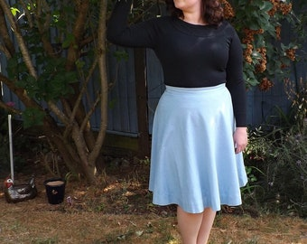 Sky Blue Cotton Circle Skirt, Fully Lined, Pale Blue Full Skirt, Light Blue Handmade Womens Skirt - Made To Order - Can Be Made To Measure