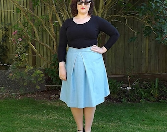 Cotton Skirt, 50s Style Skirt, Plain Skirt, 50s Skirt, Knee Kength Skirt, Womens Skirts, Skirt, Vintage, 50s, Blue, Cotton, Ladies Skirt,