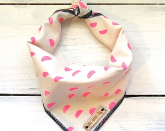 Hot Pink Half Moons Dog Bandana with Personalized Monogram