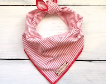 Red Seersucker Dog Bandana