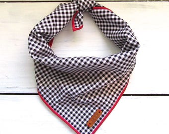 Black Gingham Check Dog Bandana