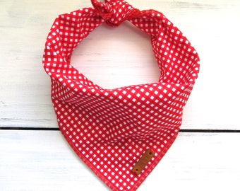 Red Gingham Check Dog Bandana