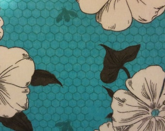 Teal with White Morning Glories and Honey Bees-Baby/ Toddler Crib Sheet- Fitted Crib Sheet-Sheets- Bedding-Nursery-