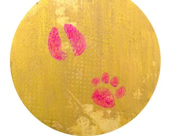 Paw prints. The smallest. Equal on Wood Panel. Pug and Pig.