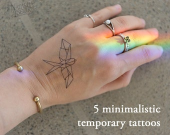 5 Minimalistic Temporary Tattoos (6 different design options)