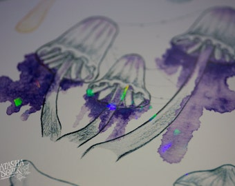 Holographic Watercolor Mushrooms Print