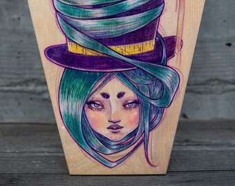 Mad Hatter on a Coffin Wood Panel