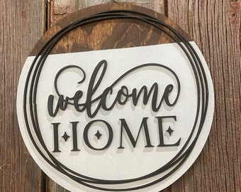 Welcome Home Sign -  Wedding Gift - Round Wooden Sign - Housewarming Gift