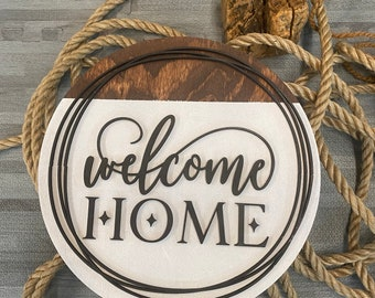Welcome Home Sign - Boat Waves & Lake Days - Guest Room Décor - Make Yourself At Home - Wedding Gift - Round Wooden Sign - Housewarming Gift