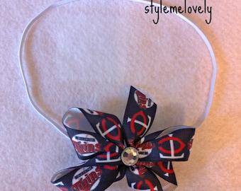 Minnesota Twins Baby Girl Boutique Bow Elastic Headband