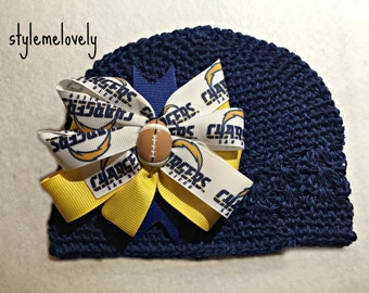 San Diego Chargers Baby Girl Boutique Bow Crocheted Hat