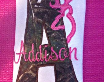 Camo Pink Monogram Baby Girl Bodysuit