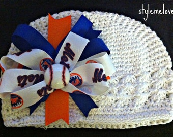 New York Mets Baby Girl Boutique Bow Crocheted Hat