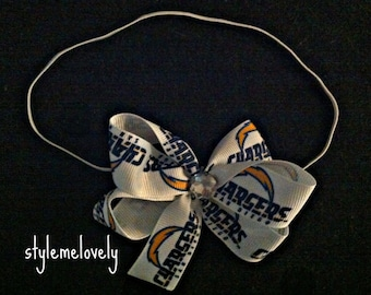 San Diego Chargers Baby girl Boutique Bow Elastic Headband