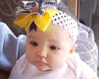 San Diego Chargers Baby girl Boutique Bow Crocheted Headband