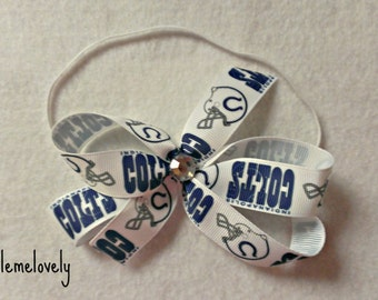 Indianapolis Colts Baby Girl Boutique Bow Elastic Headband