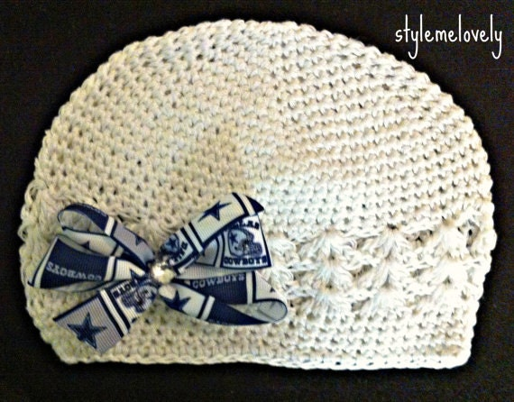 4b2f911160d2c Dallas Cowboys Baby Girl Boutique Bow Crocheted Hat