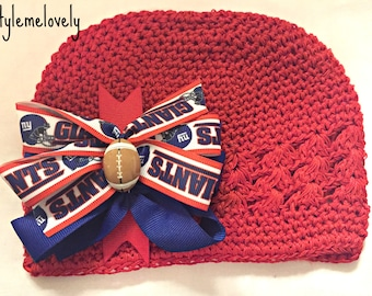 New York Giants Baby Girl Boutique Bow Crocheted Hat