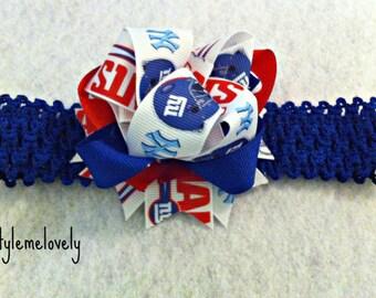 New York Giants Baby Girl Boutique Bow Crocheted Headband