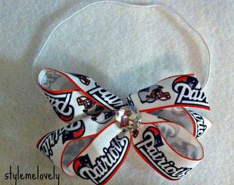 New England Patriots baby Girl Boutique Bow Elastic Headband