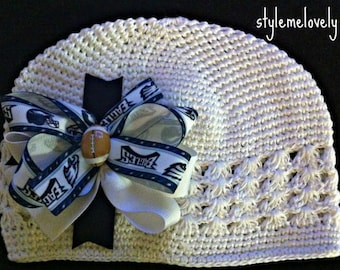 Philadelphia Eagles Baby Girl Boutique Bow Crocheted Hat