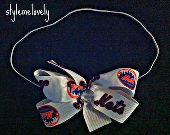 New York Mets Baby girl Boutique Bow Elastic Headband