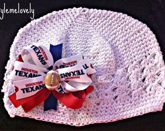 Houston Texans Baby Girl Boutique Bow Crocheted Hat