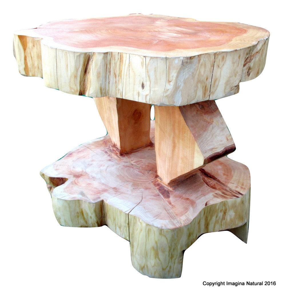 Double niveau Cypress Tree Trunk Table à café fait main - Livraison gratuite