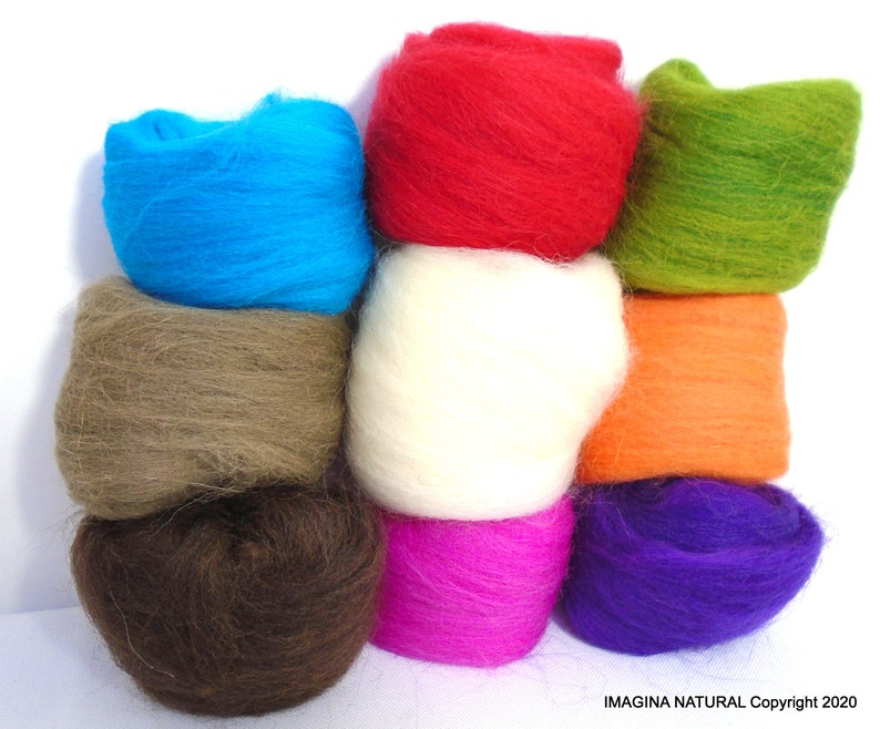 Wool Roving for Spinning Roving Packs Needle Felting Supplies Wool Roving for Felting Wool Roving BRIGHTS Palette Wool Roving for Sale