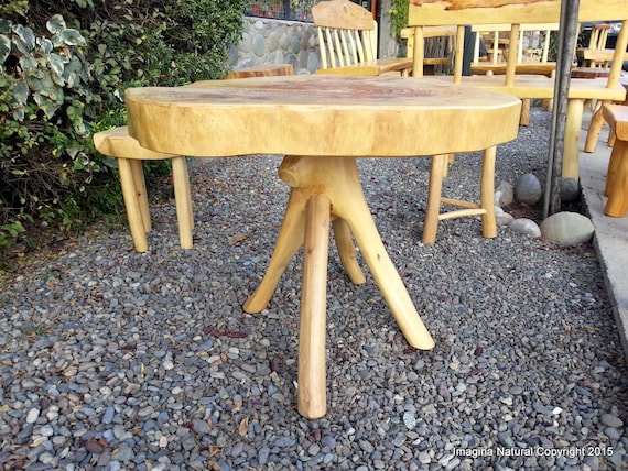 Cypress Handmade Slab Casual Dining Table Log Rustic Chilean Free International Shipping Included