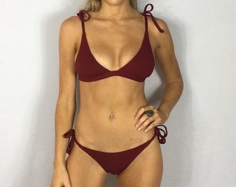 "Medium Brazilian Bikini Set Maroon Swimsuit ""Henley"" Ribbed Strappy Bathing Suit Set Swimwear Cheeky Bottom Pepper Blackwood Halter"