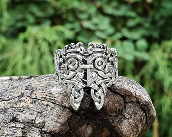 Odin Ring Ravens Hugin and Munin with Valknut Odin Mask Sterling Silver Viking Ring Valknut Ring Urnes Ring Norse Viking Jewelry