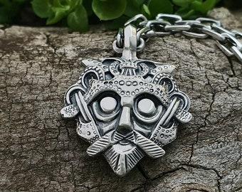Loki's Mask Viking Pendant Amulet Sterling Silver Necklace Scandinavian Norse Viking Jewelry (Smolensk province, village of Gnezdovo)