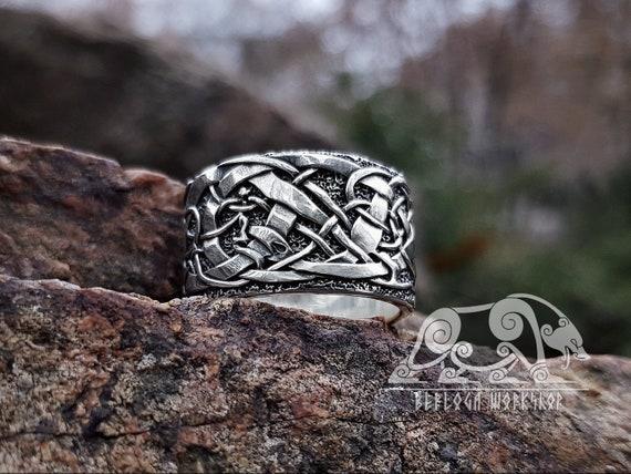 Urnes Viking Ring (Teil 2) Urnes Stil Ring Sterling Silber skandinavischen nordischen Ring Urnes Stabkirche Wikingerschmuck