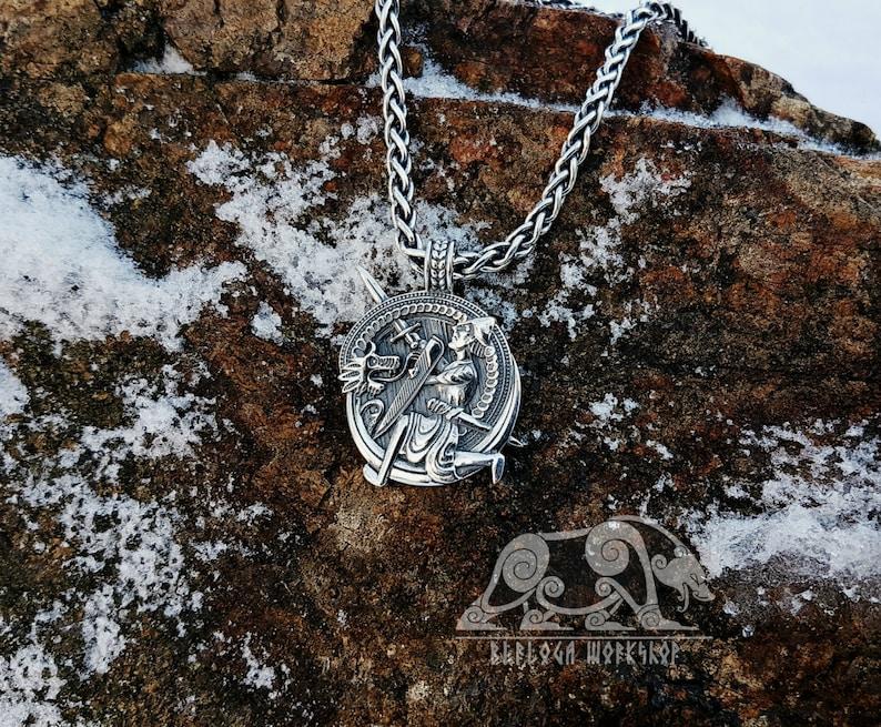 Siegfried and Fafnir Viking Pendant Sigurd and Fafnir Sterling Silver  Scandinavian Norse Viking Jewelry