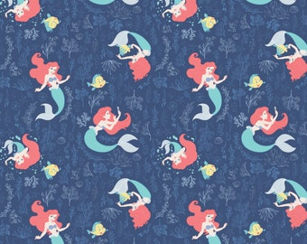 7d467a10809f1c Disney Little Mermaid Swimming in the Reef Blue Camelot Premium 100% cotton  fabric (CA759)