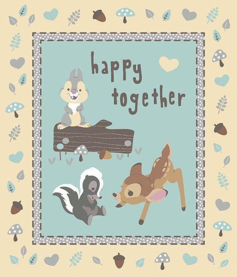 """Disney/'s Bambi Happy Together 100/% cotton Fabric by the panel 35/"""" X 43/"""""""