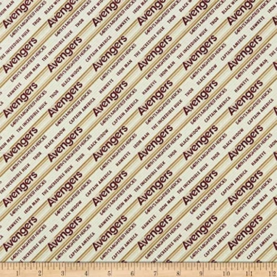CA10KK Marvel Retro Stripe With Names Blue Premium Quality 100/% Cotton Fabric by The Yard.