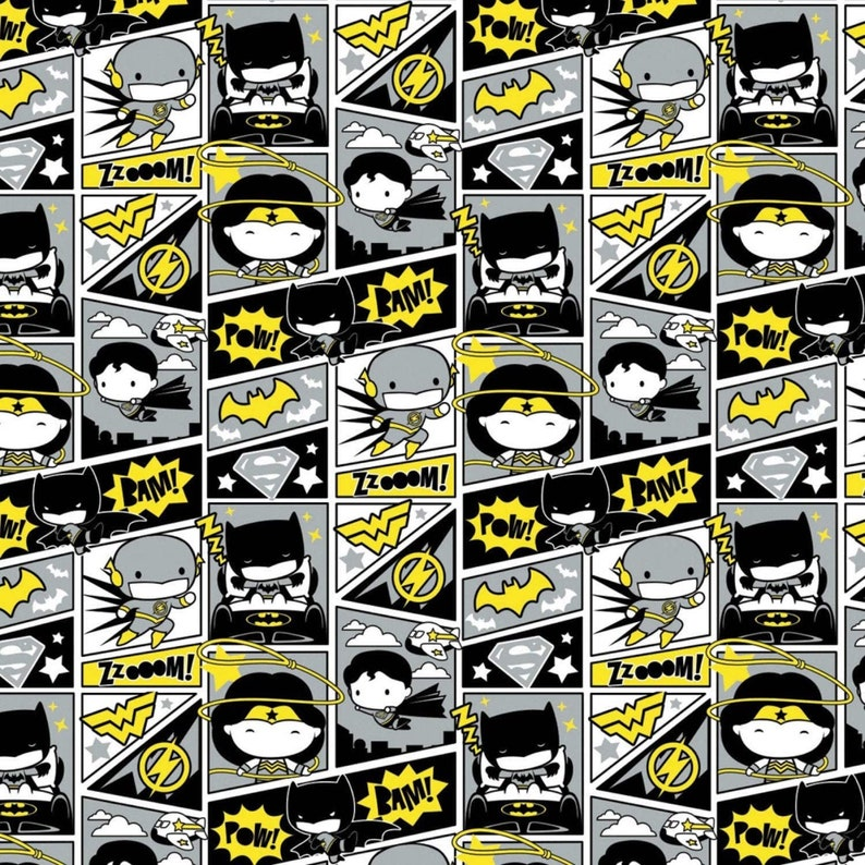 DC Comics Comic book heroes from Camelot fabrics 100/% cotton 43 wide fabric Sold by the Yard CA1342KK