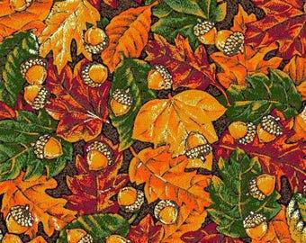 "Autumn Foliage and Acorns CP34648 100% cotton 44"" wide fabric  (H125)"