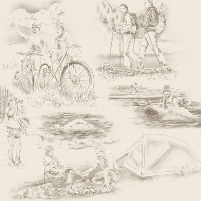 QT13 Our National Parks Toile Cream Quilting Treasures premium 100/% Cotton Fabric