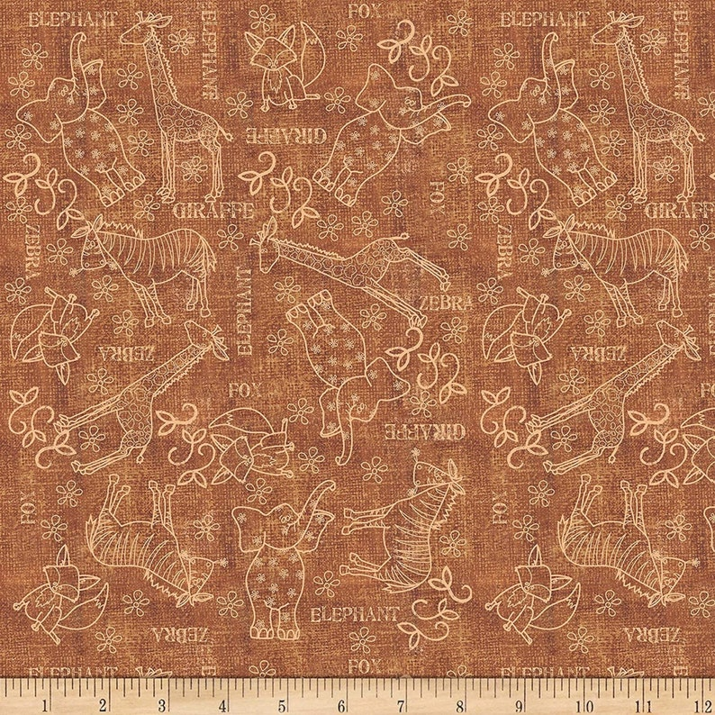 Wild things Animal Sketches Quilting Treasures Fabrics 100/% cotton Fabric by the yard QT847