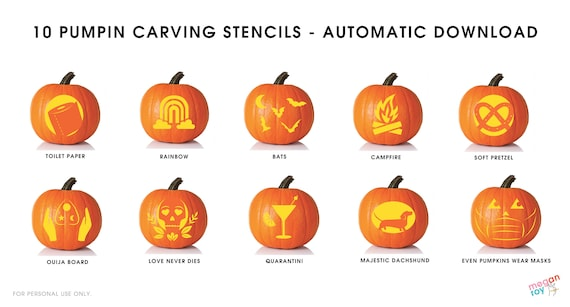 10 Pumpkin Carving Stencils 2020  Downloadable PDF Pumpkin