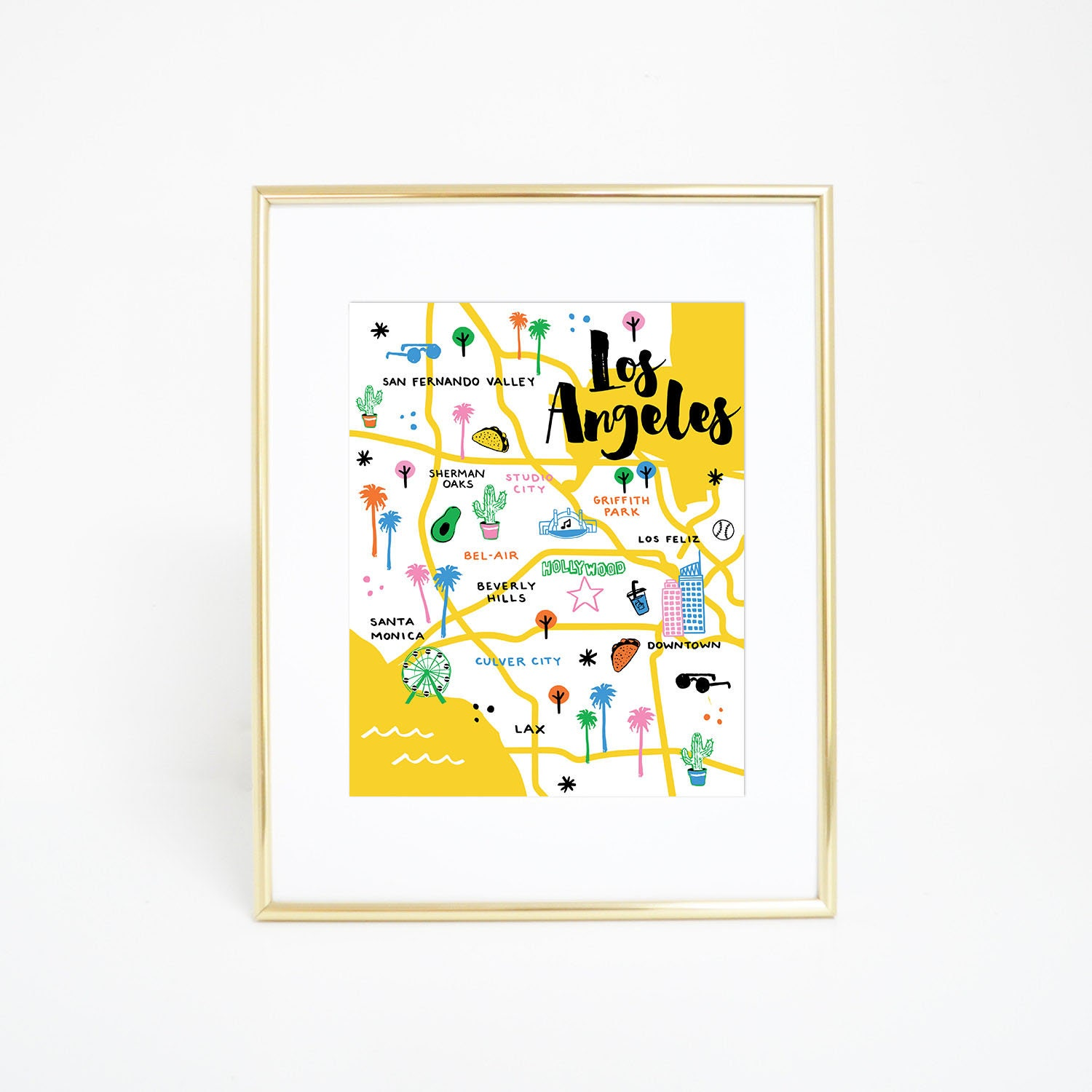 Griffith Park Los Angeles Map.Los Angeles Map Print Poster Illustrated City Map Print Etsy