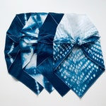 Pet bandana Shibori indigo hand dyed cotton