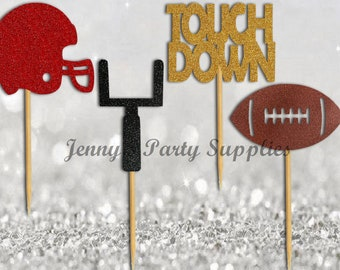 set of 12 american football cupcake toppers football party supplies decorations football baby shower ideas sports cup cake topper