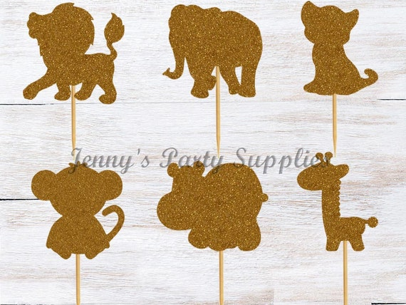 Set Of 12 Safari Baby Shower Cupcake Toppers And Jungle Themed
